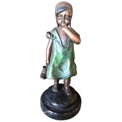 Painted Bronze Sculpture of a Young Girl by A Moreau