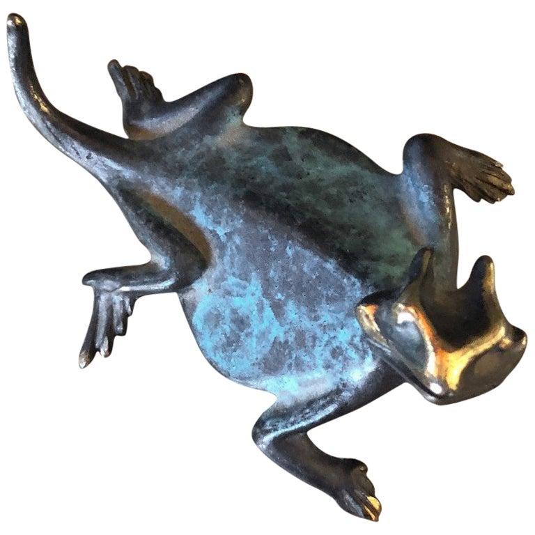 Small Patinated Bronze Lizard / Gecko Sculpture