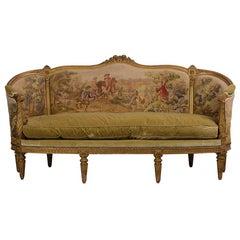 French circa 18th Century Louis XVI Style Abousson Canopy Sofa
