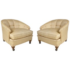 Pair of Hollywood Regency Tomlinson Lounge Chairs on Castors
