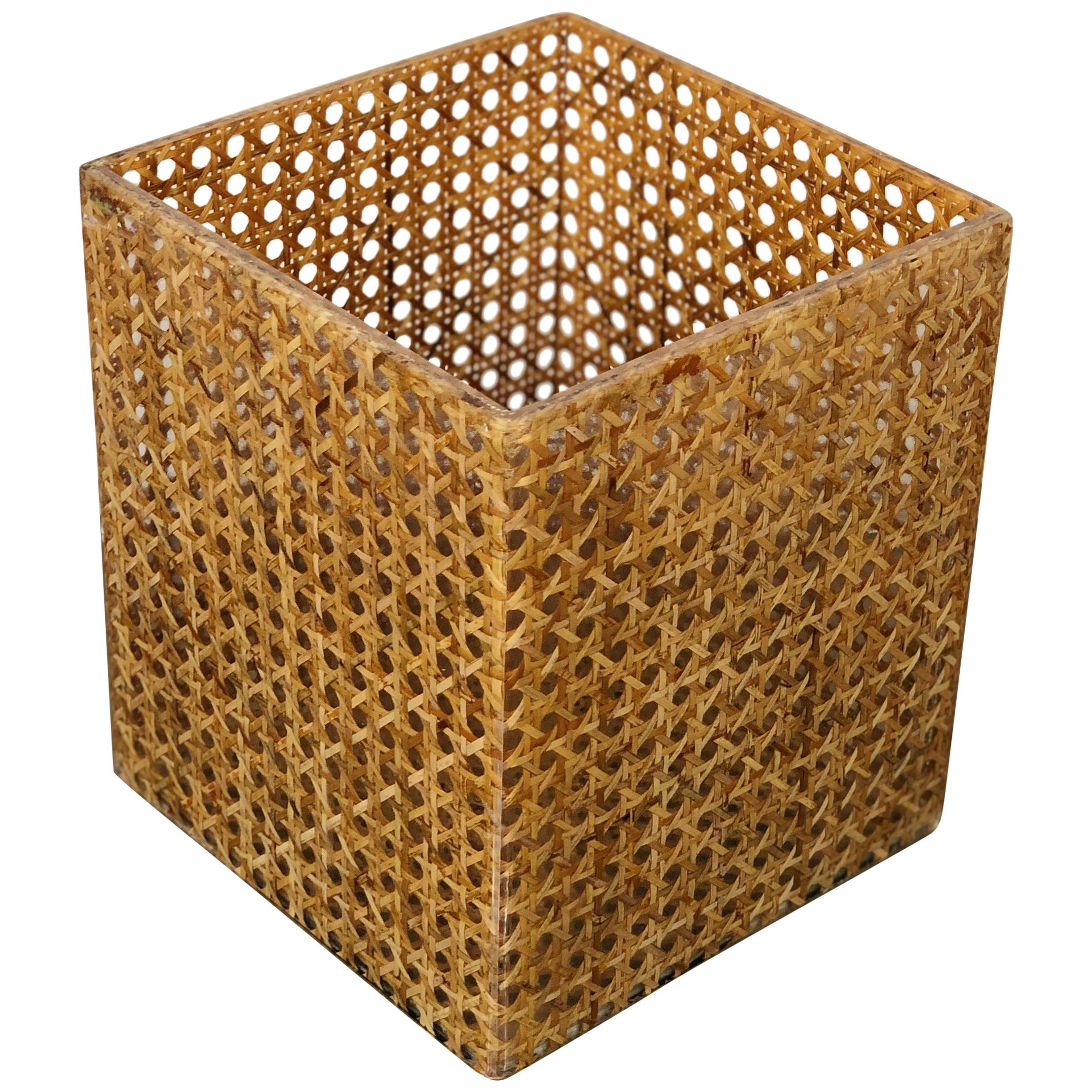 Wicker Lucite Box Vase in Christian Dior Style