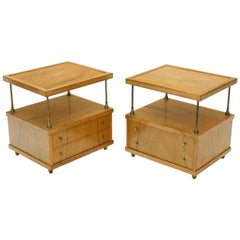 Pair of Flip Floating Top One Drawer End Tables Stands