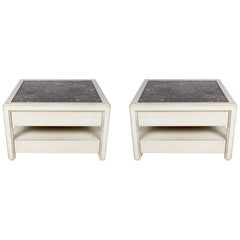 Pair of Large Scale Custom End Tables with Marble Tops by Designer Arthur Elrod