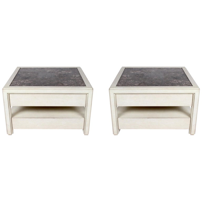 Pair of Large Scale Custom End Tables with Marble Tops by Designer Arthur Elrod For Sale