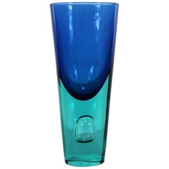 Lg Murano Blue Turquoise Sommerso Bubble Vase Style Antonio da Ros for Cenedese
