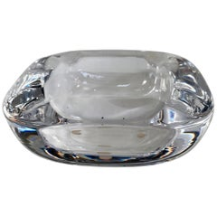 Clear French Art Glass Ashtray / Bowl of Lead Crystal by Art Vannes France
