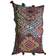 Colorful Handmade Vintage Moroccan Wool Kilim Pillow Decorative Berber Design