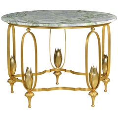 Deluxe Foyer Table with Gold Dipped Base and Rare Green Marble Top