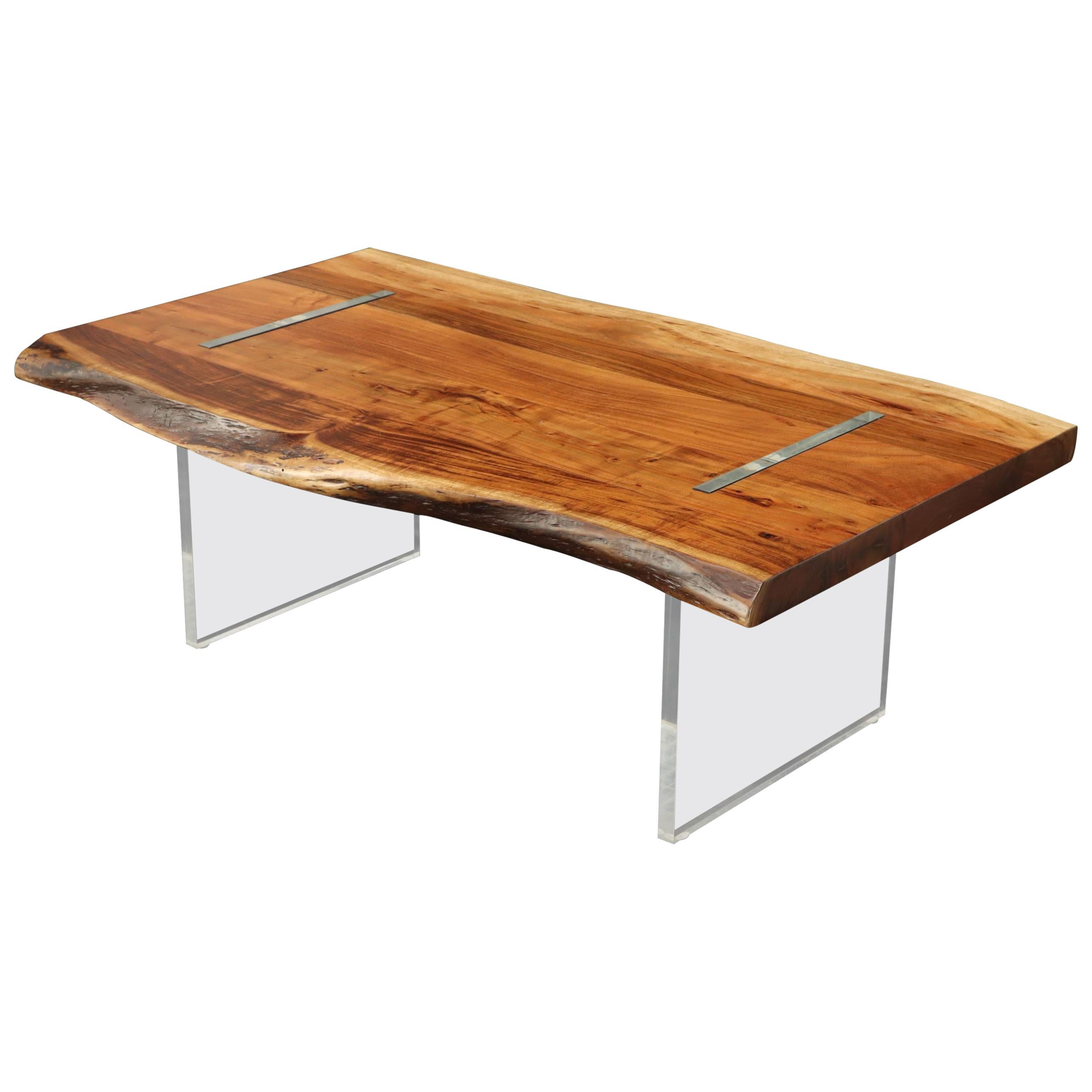 Large Heavy Solid Teak Slab Floating Top Coffee Table on Lucite Legs