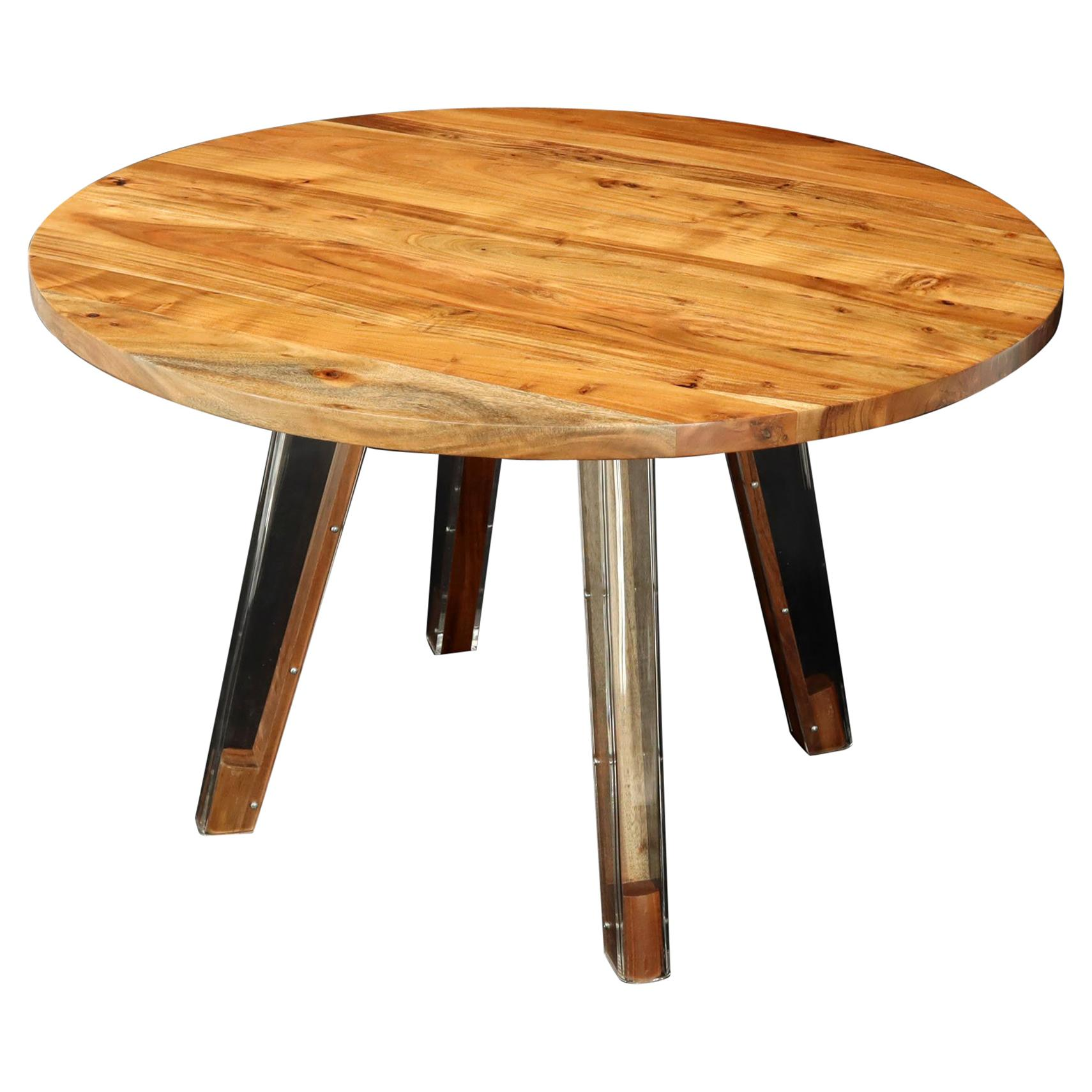 Round Solid Thick Oiled Teak Top Lucite Legs Dining Table