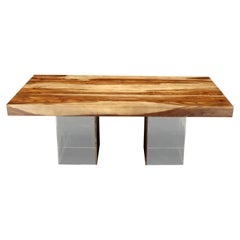 Large Solid Oiled Teak Rectangular Dining Table on Lucite Base