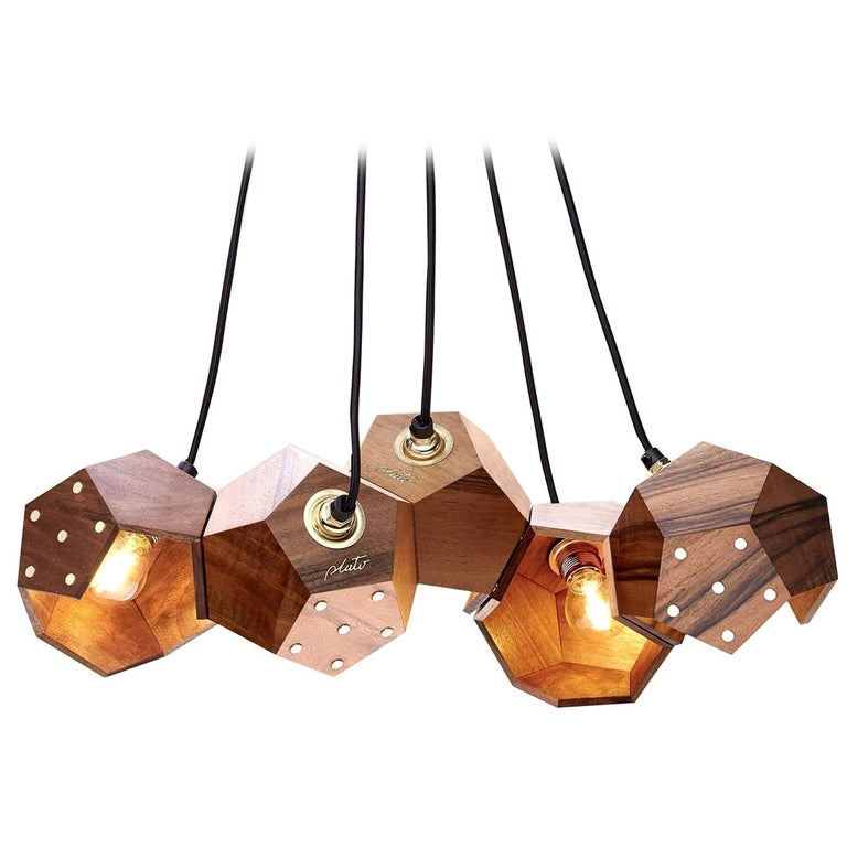 Basic Twelve Quintet Walnut Pendant Lamp by Plato Design For Sale