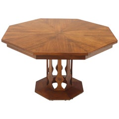 Oiled Walnut Octagonal Round Dining Table with Two Extension Leafs Probber Style