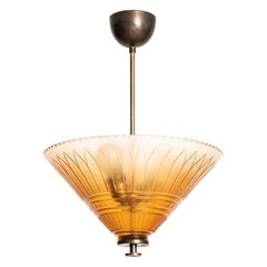 Edward Hald Ceiling Lamp Produced by Orrefors in Sweden