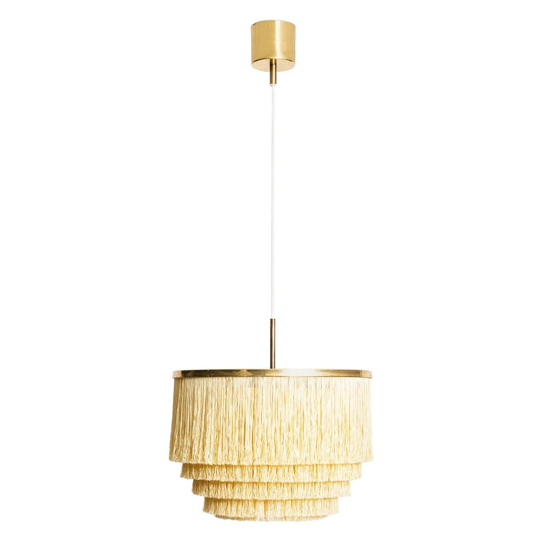 Hans-Agne Jakobsson Ceiling Lamp Model T-602 in Brass and Silk Fringes For Sale