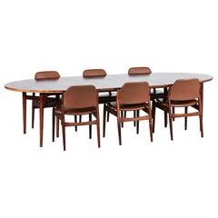 Arne Vodder Esszimmergarnitur, Modell 212 Tisch und 6 Stühle