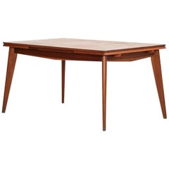 French Dining Table Jean Prouvé Style in Oak, 1960s