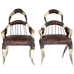 Michel Haillard, Pair of Buffalo Horn and Leather Armchair, circa 1980
