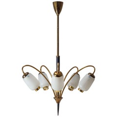 1950s French Five-Arm Chandelier, Patinated Brass and Enameled Glass