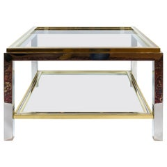 Italian Midcentury Brass, Chrome and Glass Coffee Table, Willy Rizzo, circa 1960