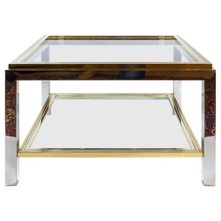 Italian Midcentury Brass, Chrome and Glass Coffee Table, Willy Rizzo, circa 1960 For Sale