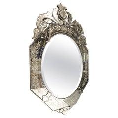 Beautiful Oval Venetian Mirror, Early 20th Century
