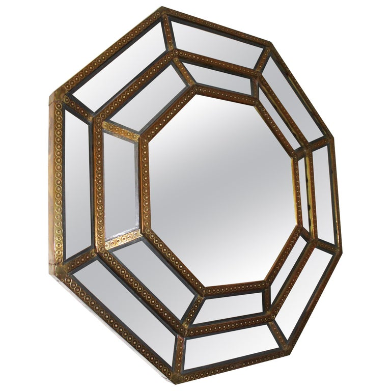 Spanish, 1980s Bedoya Arte Signed Octagonal Mirror For Sale