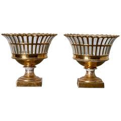 Corbeille Vase Pair of Swedish Porcelain Rörstrand White Gilded, Sweden