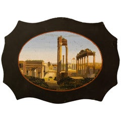 Paperweight in Belgian Marble with Micromosaic Representing the Forum Romanum
