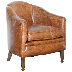 Stunning Small Fully Restored Art Deco Brown Leather Club Armchair Solid Frame