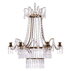 Gustavian Style Chandelier in Brass and Cut Glass, 19th Century