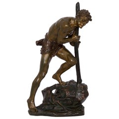 French Art Deco Antique Bronze Sculpture of Laborer by Edouard Drouot