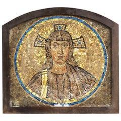 Italian Mosaic of Jesus Figure, Mounted in Oak Frame