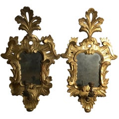 Italy 18th Century Pair of Sconces with Original Mercury Mirrors Louis XV Style