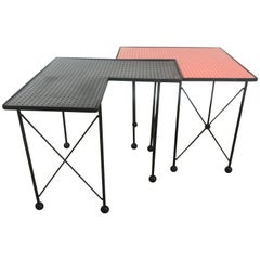 Unusual Puzzle Iron and Pegboard Tables Attributed to Frederick Weinberg