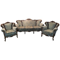 Italian Baroque Sofa Set 2 Armchairs Walnut Carved