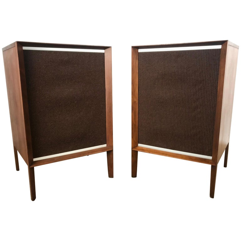 Stunning Stylized Mid-Century Modern Electro Voice Stereo Speakers in Walnut For Sale