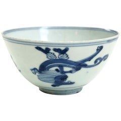 Chinese Bowl, Withe and Blue, 18th Century