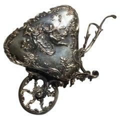 Italy Late 19th Century Regency Sterling Silver Little Love Cart