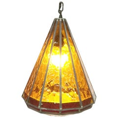 Orange Stained Glass Ceiling Lamp, 1930s