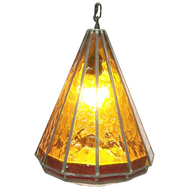 Orange Stained Glass Ceiling Lamp, 1930s For Sale