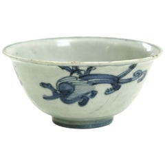 Chinese Bowl, White and Blue, 18th Century