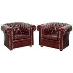 Pair of Vintage Oxblood Leather Hand Made in England Chesterfield Club Armchairs