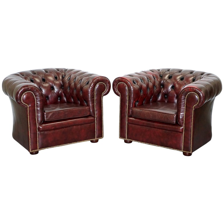 Pair of Vintage Oxblood Leather Hand Made in England Chesterfield Club Armchairs For Sale