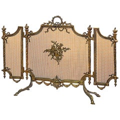 19th Century Continental Brass Folding Screen in the Manner of Louis XVI