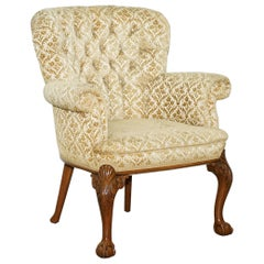 Walnut George II Style Claw and Ball Acanthus Carved Legs Chesterfield Armchair