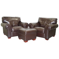 Pair of Large Comfortable Brown Leather Armchairs with Matching Footstool