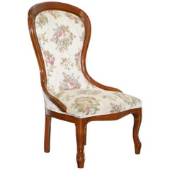 Lovely Victorian Walnut Framed with Floral Upholstery Nursing Chair or Armchair