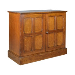 Antique Oak Cupboard, Two Door, English, Panelled, Low Cabinet Edwardian