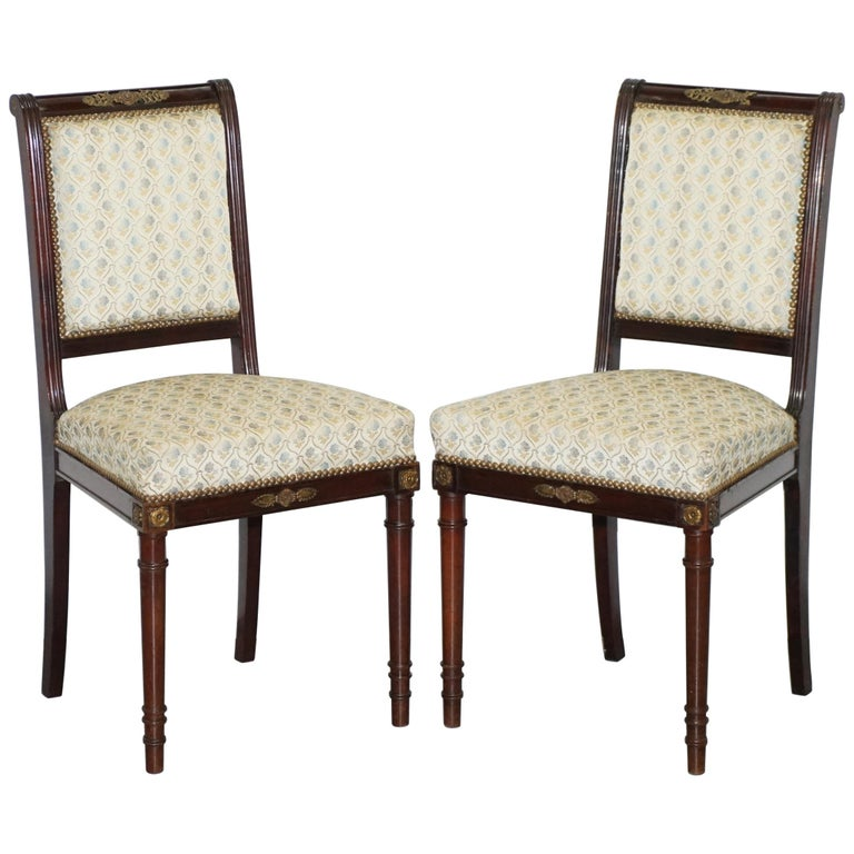 Vintage French Empire Mahogany Napoleon Style Dining Chairs Pair Ormolu Mounts For Sale